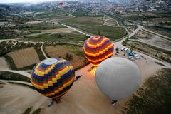 Top view on the balloons preparing for flight. Spring in Turkey Stock Images