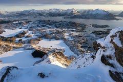 Top view of Ballstad village in winter season in Lofoten archipelago, Norway, Scandinavia. Europe stock image