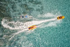 Top view of Banana boat playing and diving in Koh Larn Stock Images