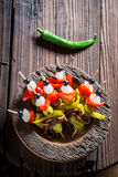 Top view of banderillas with peppers, olives and anchovies Royalty Free Stock Images