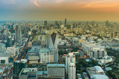 Top view Bangkok central business area with sunset sky background, Thailand Stock Images
