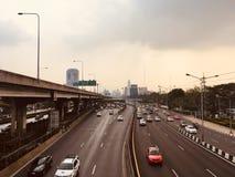 Top view of Bangkok motorway in a rush hour stock images