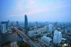 Top view of bangkok skyscraper and traffic crossing chaopraya ri Royalty Free Stock Photo