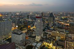Top view of Bangkok on sunset Royalty Free Stock Photo