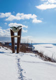Top view on the bank of river Volga near Samara in wintertime Stock Photography