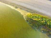 Top view bank of Texas City 5miles levee, Texas, USA. Aerial view banks of famous Texas City Dike, a levee that projects nearly 5miles south-east into mouth of royalty free stock images