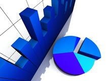 Top view of bar graph and pie chart. Top view of 3d bar graph and pie chart on an isolated background Stock Photography