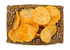 Top View Of Barbecue Chips In A Wicker Basket Stock Photography