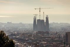 Top view of Barcelona city skyline at day time. Spain stock photo