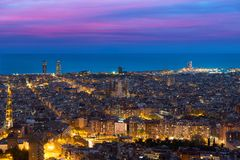 Top view of Barcelona city skyline during evening in Barcelona,. Catalonia, Spain stock photography