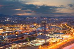 Top view of Barcelona city skyline during evening in Barcelona, Catalonia, Spain.  royalty free stock image