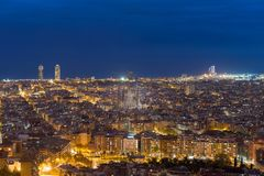 Top view of Barcelona city skyline during evening in Barcelona, Royalty Free Stock Images