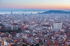 Top view of Barcelona from park Guel on a sunset. Stock Images