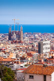 Top view of Barcelona with Sagrada Familia Royalty Free Stock Photos