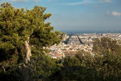 Top-view of Barcelona,Spain at day time from high point in sunny day from park GUEL. Travel. Spain, Barcelona, July 12 royalty free stock image