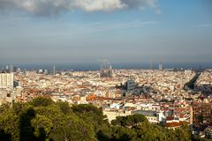 Top-view of Barcelona,Spain at sunny day from high point in park stock images