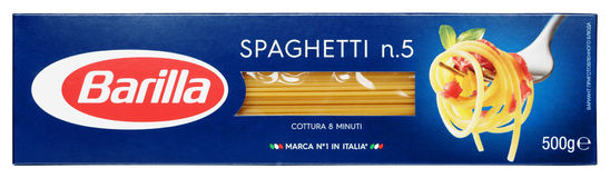 Top view of Barilla Spaghetti n.5 italian pasta isolated on white background Stock Photos
