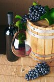 Top view of barrel, bottle and glass of red wine royalty free stock photo