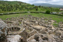 Top view of Barumini Nuraghe Royalty Free Stock Images