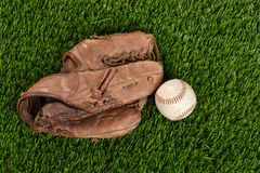 Top view baseball glove and ball Royalty Free Stock Photo