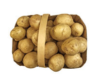 Top view of basket with potatoes Stock Photo