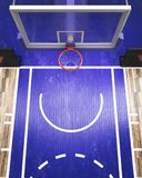 Top view on basketball hoop 3d render Royalty Free Stock Photo