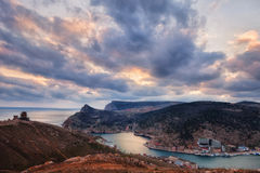 Top view of the bay of Balaklava and the old fort Royalty Free Stock Photography
