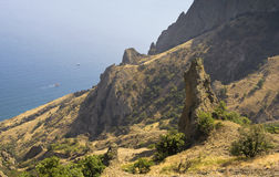 Top view of Bay and cliffs in the reserve Kara-Dag.Crimea Royalty Free Stock Photos