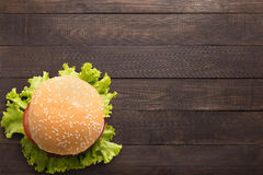 Free Top View Bbq Hamburger On The Wooden Background Stock Image - 70178601