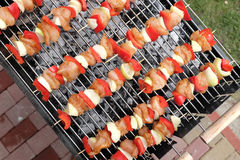 Top view of BBQ sticks Stock Images