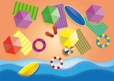 Top view beach background with umbrellas,balls,swim ring,surfboard, sandals and sea. Aerial view of summer beach in vector illustration
