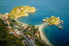 Top view of the beach Isola Bella Stock Images