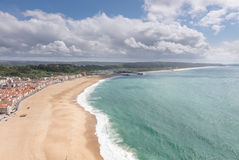Top view of beach in Nazare, a surfing paradise, Stock Photos