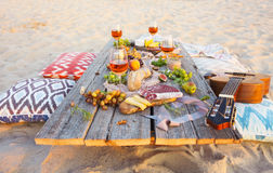 Top view beach picnic table Stock Image
