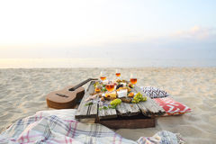 Top view beach picnic table royalty free stock photography