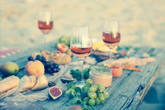 Top view beach picnic table Royalty Free Stock Photo
