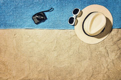 Top view of beach and sand with accessories Royalty Free Stock Photo