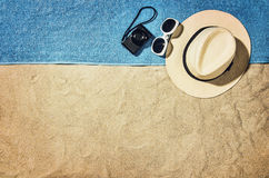 Top view of beach and sand with accessories Royalty Free Stock Image