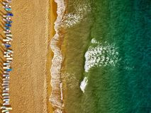 Top view of the beach and sun loungers. The deserted coast of th. E Ionian Sea, Greece, Corfu Stock Photography