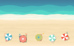 Top view of beach umbrella in flat icon design at sea background Royalty Free Stock Photos