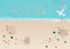 Top view of beach with umbrella. Vector Royalty Free Stock Images
