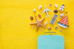 top view beach and vacation concept with nautical life style objects royalty free stock photos