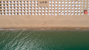 Top view of beach with white umbrellas. Golden sands, Varna, Bulgaria Royalty Free Stock Image