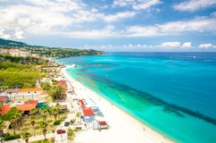 Aerial view of Tyrrhenian sea with turquoise water,Tropea, Italy royalty free stock photo
