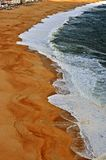 Top view of beautiful beach of Nazare royalty free stock photo