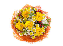 Top view of beautiful bouquet in yellow-orange tones Royalty Free Stock Images