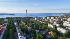 Top view of beautiful city Tampere stock photos