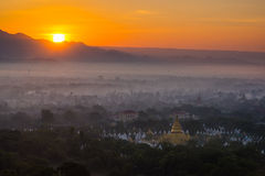 Top view in beautiful countryside in the morning at Mandalay hill Royalty Free Stock Photo