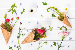 Top view of beautiful floral composition with waffle cones Royalty Free Stock Photography