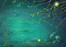 Top View of Beautiful Night in the Clearing Forest. Video Game`s Digital CG Artwork, Concept Illustration, Realistic Cartoon Style Background royalty free illustration